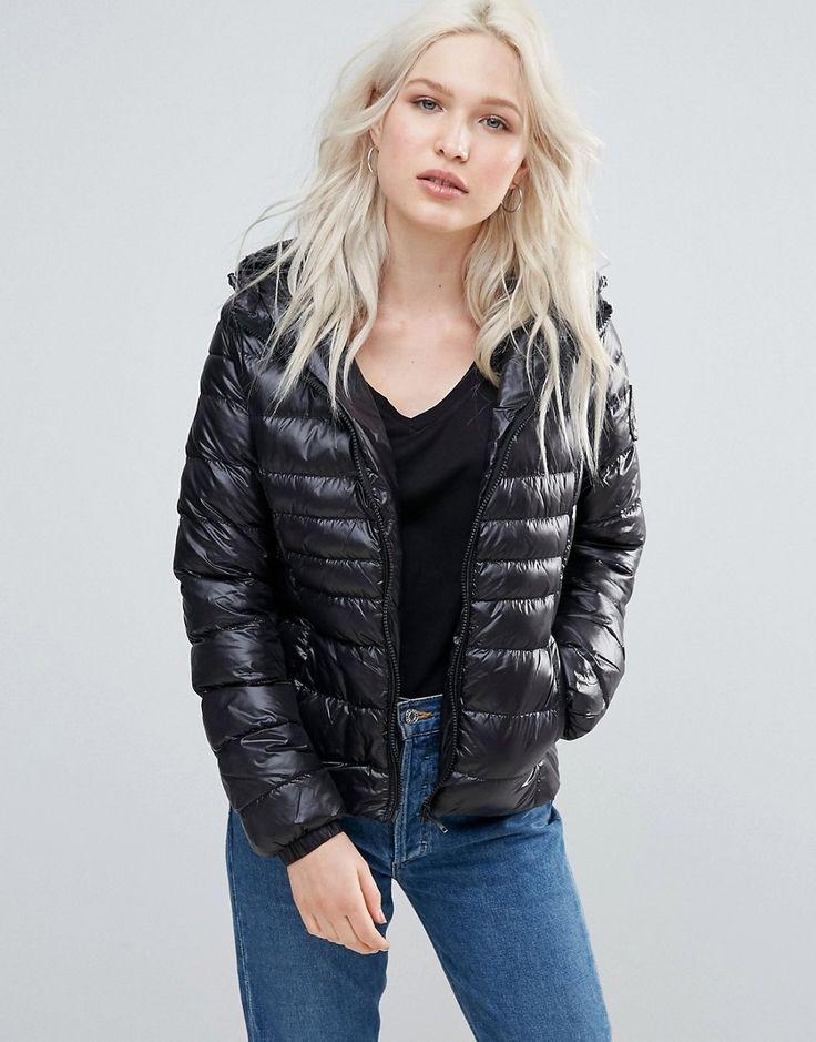 Brave Soul Hooded Padded Coat - Black