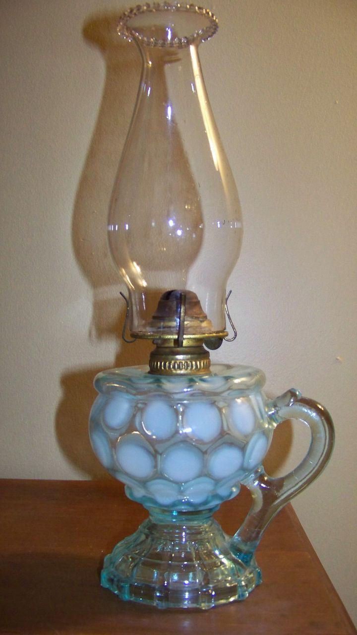 oil lamps | ... Coin Spot Finger Oil Lamp C 1890 from threedogtime on Ruby Lane