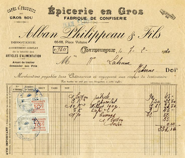 Free Vintage French Receipts Old Design Shop Blog