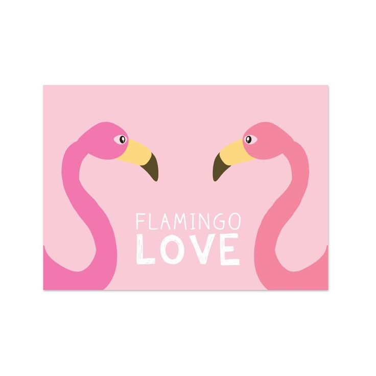 "Kaart ""flamingo love"" - Live Life Happy"