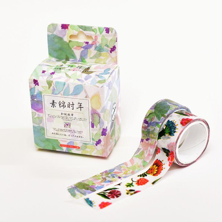 2pcs Brocade Cinta Adhesiva Scrapbooking Washitape Stickers Decorative Scotch Tapes Japanese Washi Tape  Stationery 6m 15mm