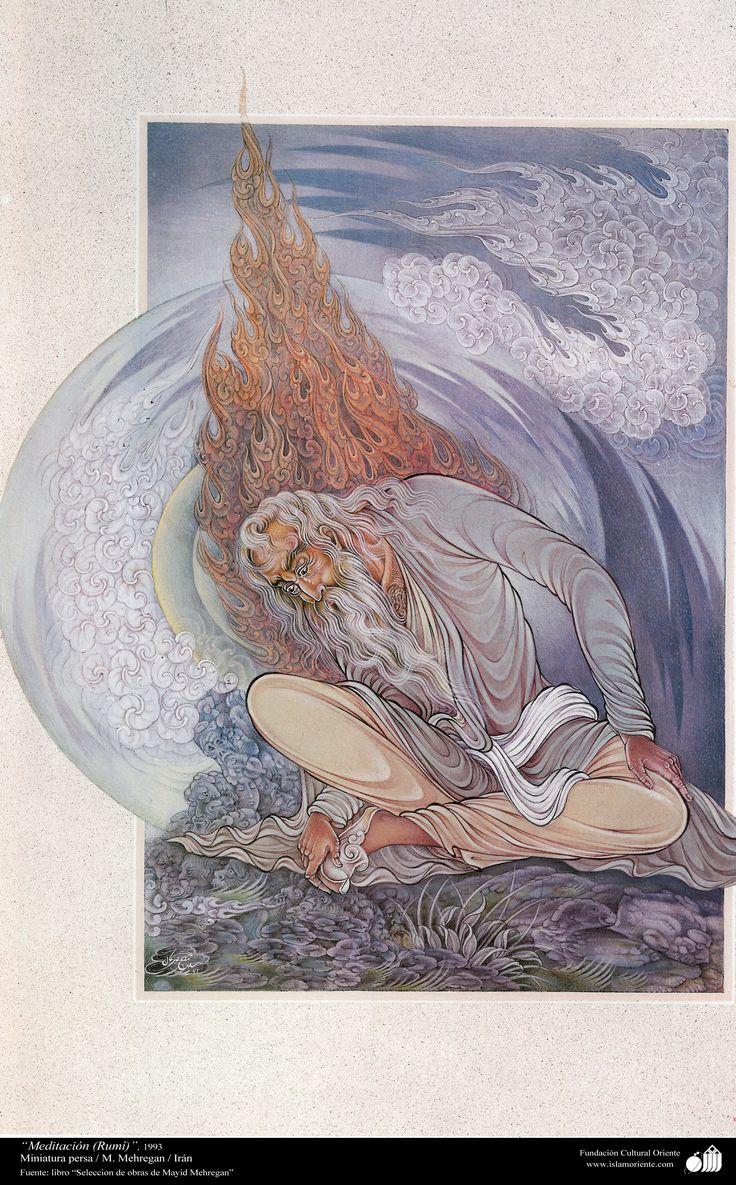 Rumi - Persian Miniature / Meditation (Rumi  by Majid Mehregan مجيد مهرگان