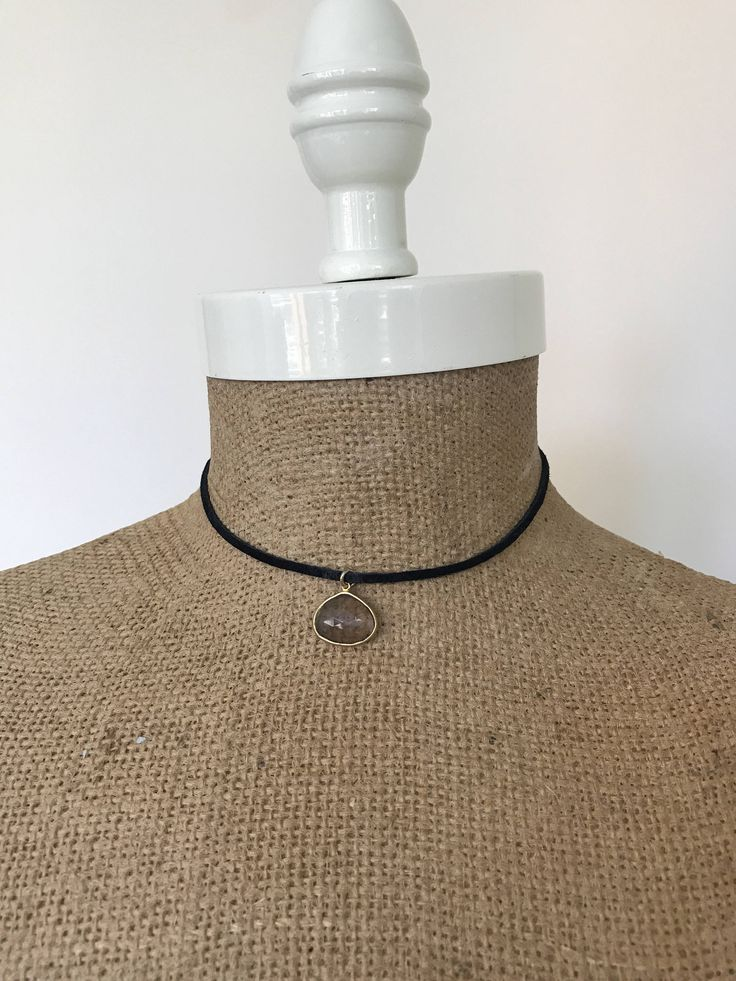 Labradorite Pendant Choker in Black Suede with Rusty Gold End Pieces by EdieLucyDesigns on Etsy