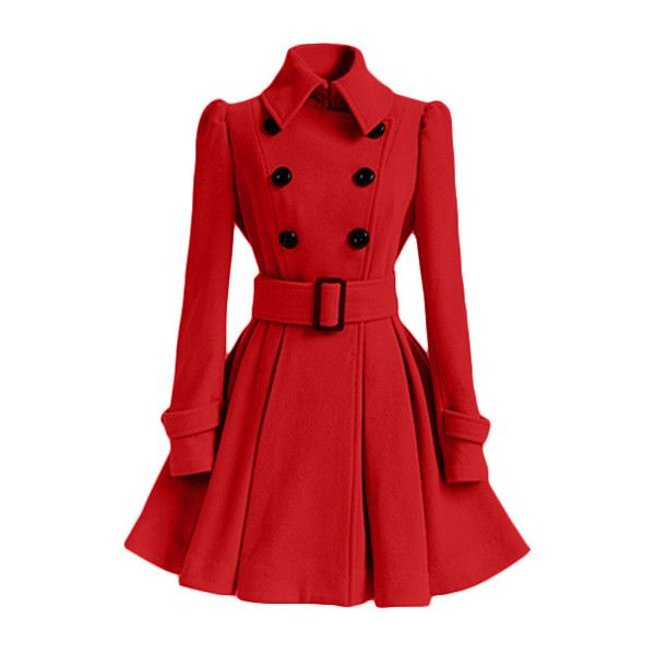 Rotita Belt Embellished Double Breasted Red Coat ($40) ❤ liked on Polyvore featuring outerwear, coats, jackets, red, long wool coat, print coat, double breasted long coat, long woolen coats and long sleeve coat