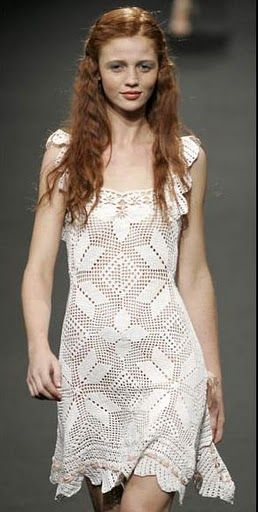 Crochetemoda: Crochet - Vestido Branco ❤️LCD-MRS❤️ with diagrams.