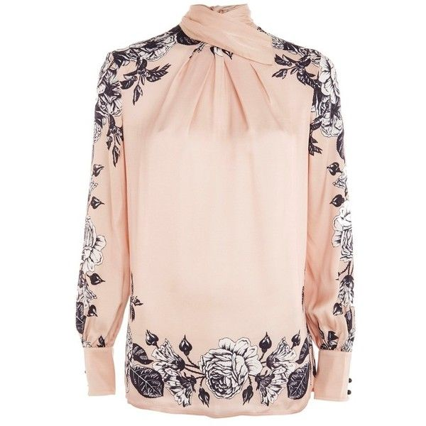 Women's Topshop Boutique Reverse Bow Neck Blouse (32.195 HUF) ❤ liked on Polyvore featuring tops, blouses, rose multi, flower print blouse, bow neck blouse, pink top, floral blouse and bow collar blouse