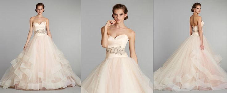 Perfect Ivory French corded lace over Rum Pink Charmeuse soft fluted bridal gown with shimmer throughout