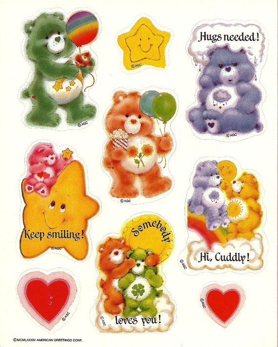 Vintage 80's AGC Care Bears Sticker Sheet by Stuckonstickers, $3.00