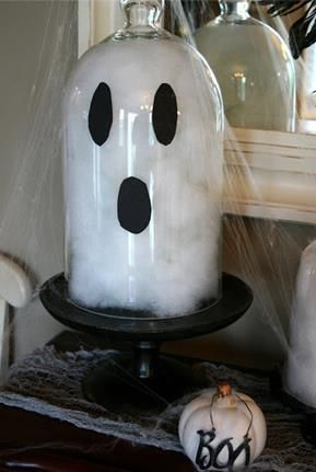 I could see doing this hurricane ghost in many shapes and sizes! #Halloween Bell from michaels and stand from ikea?
