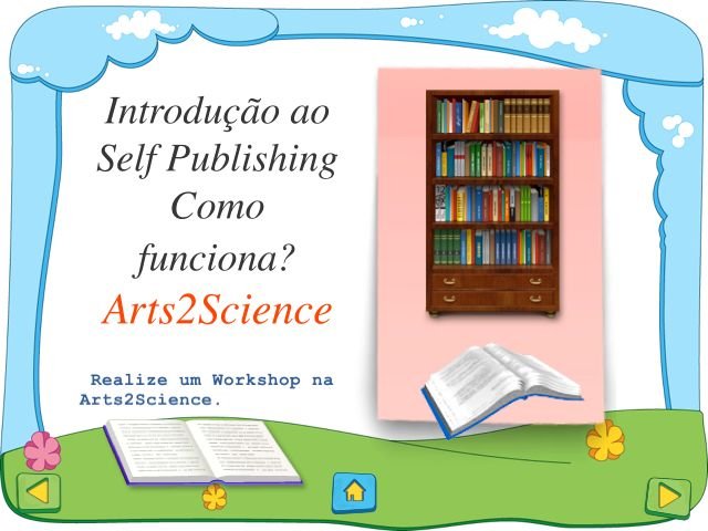 Introdução à Edição de Livros em Selfpublishing  Resumo sobre o processo de Edição de Livros em Selfpublishing, criado por www.arts2science.com.  http://www.slideshare.net/CarlaLouro2/introduo-edio-de-livros-em-selfpublishing