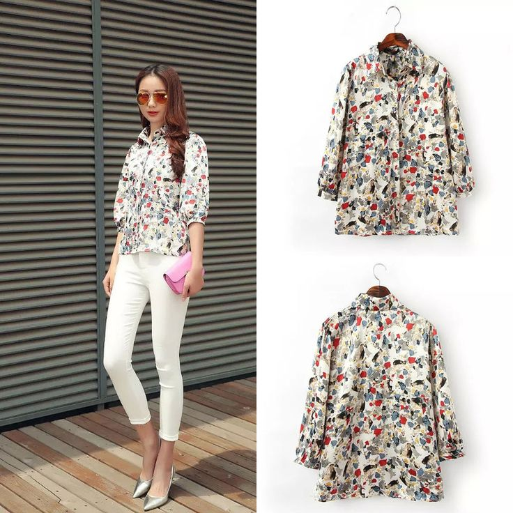2015 Women Korean Shirts Floral Casual Chiffon Button Shirt Tunic Tops Blouse  #DL #ButtonDownShirt #Casual