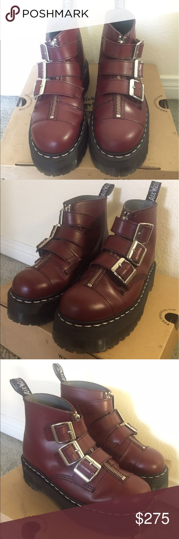 Dr Martens X Agyness Deyn Aggy strap cherry red Excellent mint condition only tried on once!  Store in original box!! Size US 7 or UK 5, they Are limited edition! Dr. Martens Shoes Ankle Boots & Booties