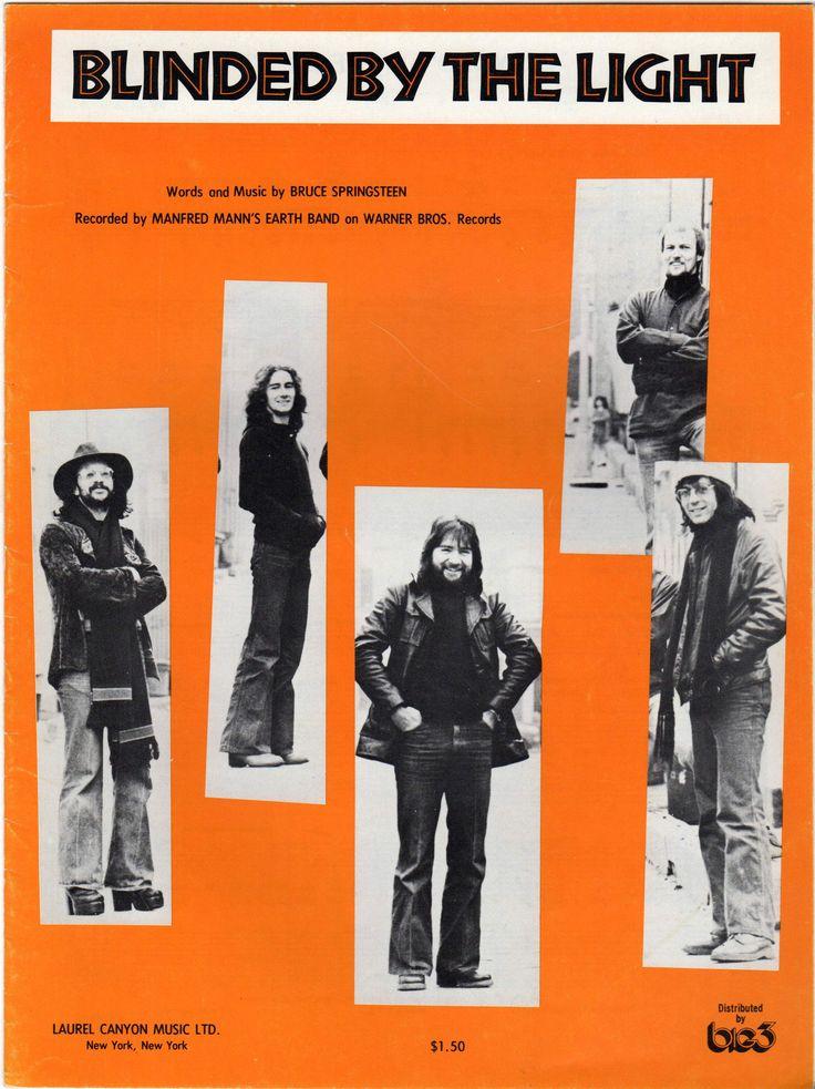 Bruce Springsteen Blinded By The Light Manfred Mann's Earth Band Song & Lyrics Sheet Music 1972