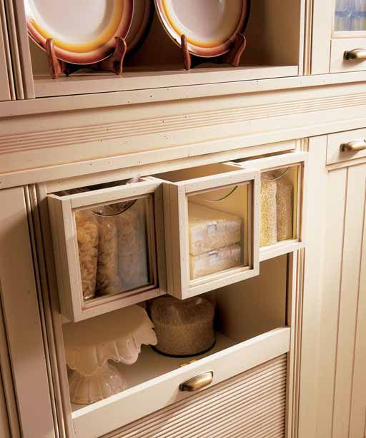 Clever Rice, Pasta and Barley drawers- or drawers for any other nick nacks you need to store. #Eurocasa #Country #Cream #Kitchen