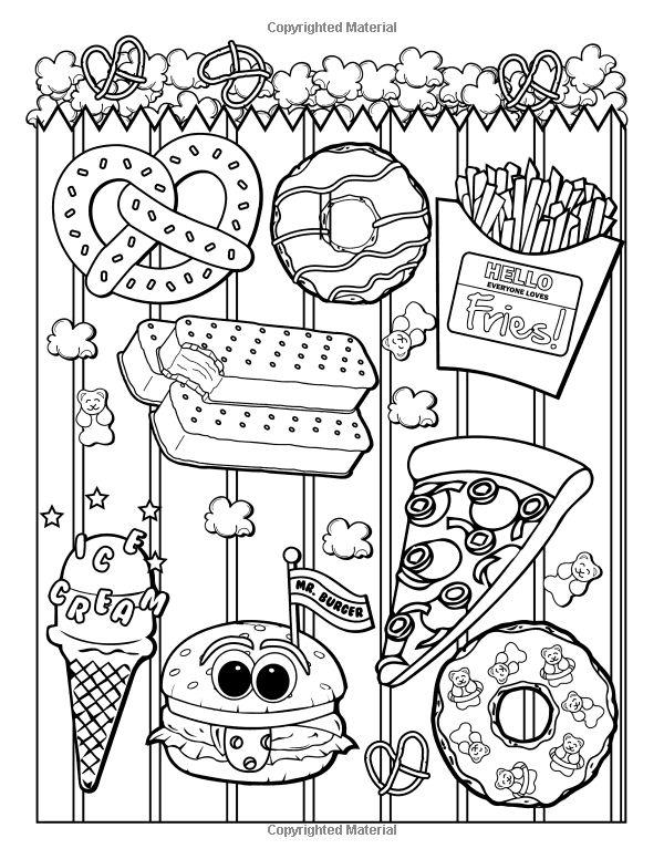 junk food coloring book 24 page coloring book - Food Coloring Book