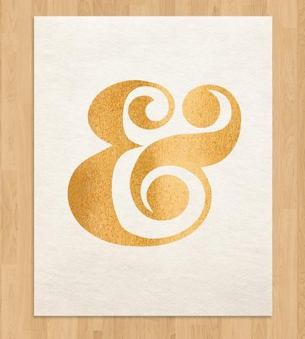 Gold Ampersand Typography Print by Pretty Chic on Scoutmob Shoppe