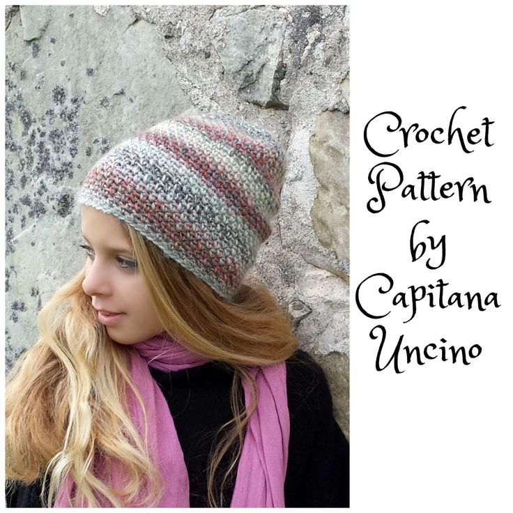 PDF-file Crochet  PATTERN for Amado Beanie, 2 Sizes XS-S andM-L, Slouchy, Easy, Surfer beanie by CapitanaUncino on Etsy