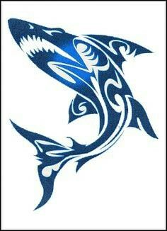 Tribal Shark...As cover up for his arm...The body solid black with a pattern in the fins