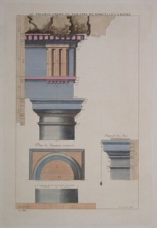 "du premier ordre du theatre de marcellus a rome italian contemporary hand coloured engraving  10 x 15"""" SET of 3 $210"