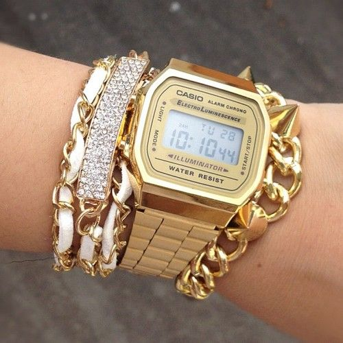 gold casio watch X bracelets