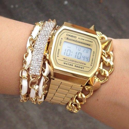 gold casio watch X bracelets