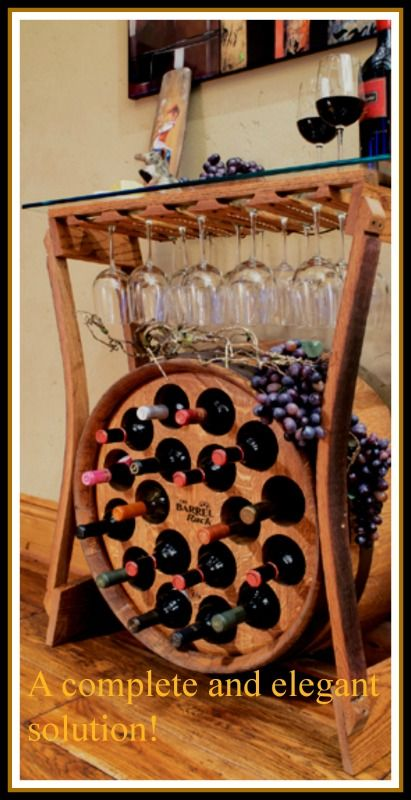 "Just as a great wine is said to have ""great legs"", The Wine Bar uses the gracefully curved legs from recycled wine barrel staves to cradle the patented Barrel Rack, providing beautiful and functional storage for 18 wine bottles. http://www.barrelrack.com:"