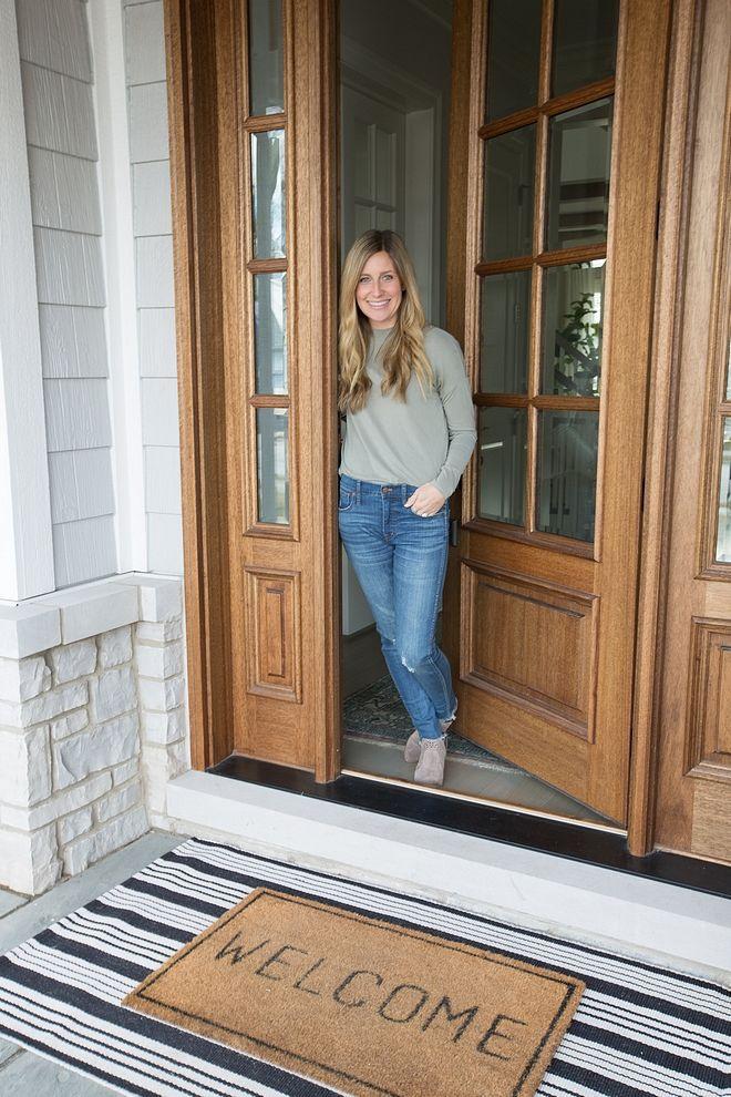Front Door Doormat Layred Doormat Black And White Striped Runner Layered With Welcome Doormat Layred Doormat Front Door Rugs Rustic Front Door Front Door Mats