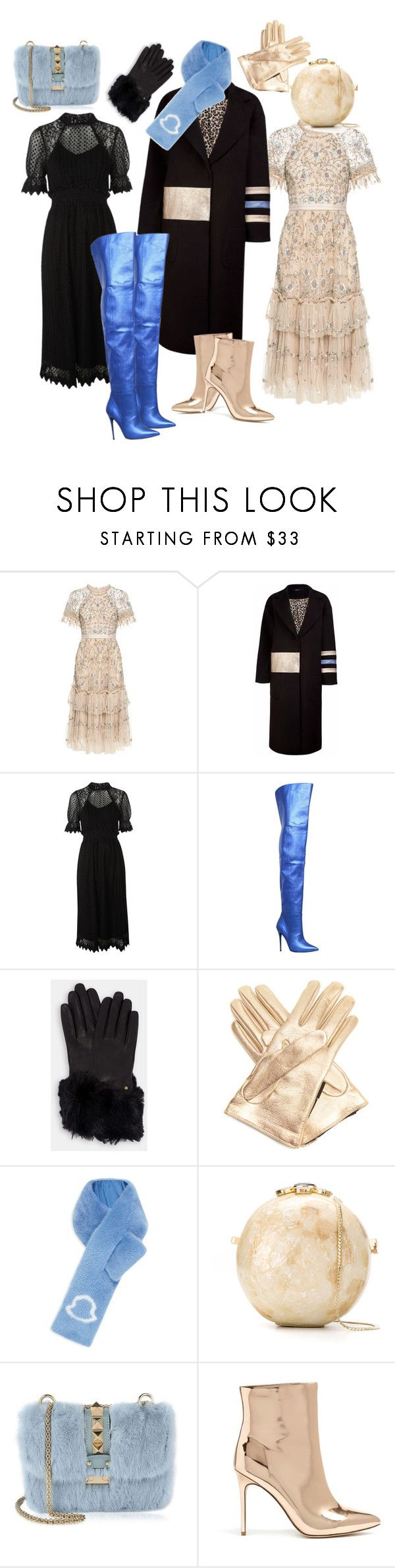 """Без названия #29"" by lizabethz ❤ liked on Polyvore featuring Needle & Thread, TFNC, Kurt Geiger, Ted Baker, Gucci, Moncler, Serpui, Valentino and Forever 21"