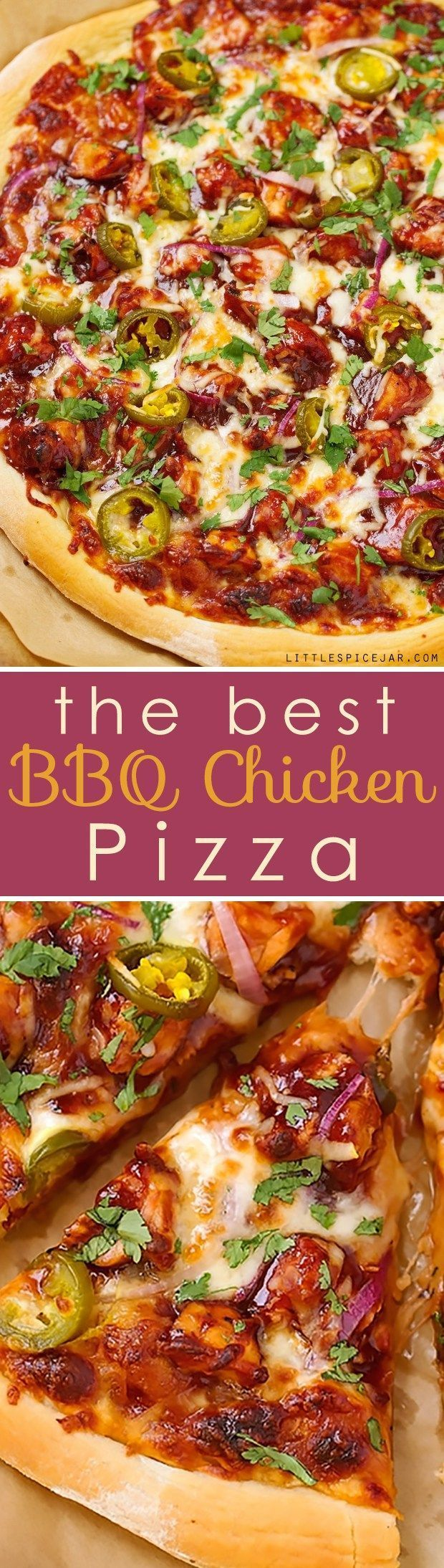 BBQ Chicken Pizza - made with grilled chicken, sliced jalapenos and red onions, and cilantro, So good you'll never go to CPK again!#bbqchickenpizza #chickenpizza #bbqpizza | http://Littlespicejar.com @Marzia [Little Spice Jar]