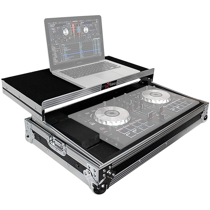 ProX X-MXTSBLT ATA Style Flight Road Case with Sliding Laptop Shelf for Pioneer DDJ-SBII, DDJ-RB  and Numark Mixtrack Pro II DJ Controllers Black/Chrome