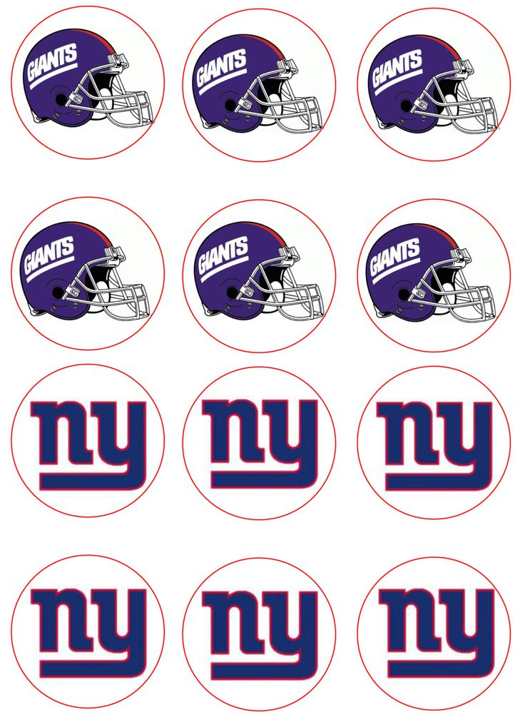 NY Giants Edible Image Cupcake Toppers by ShoreCakeSupply on Etsy