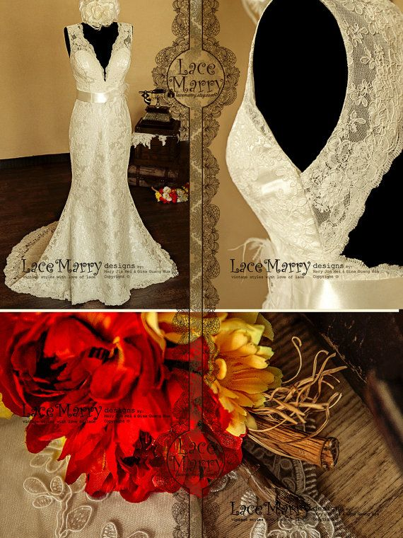 Breathtaking Keyhole Back Vintage Style Lace Wedding by LaceMarry, $344.00