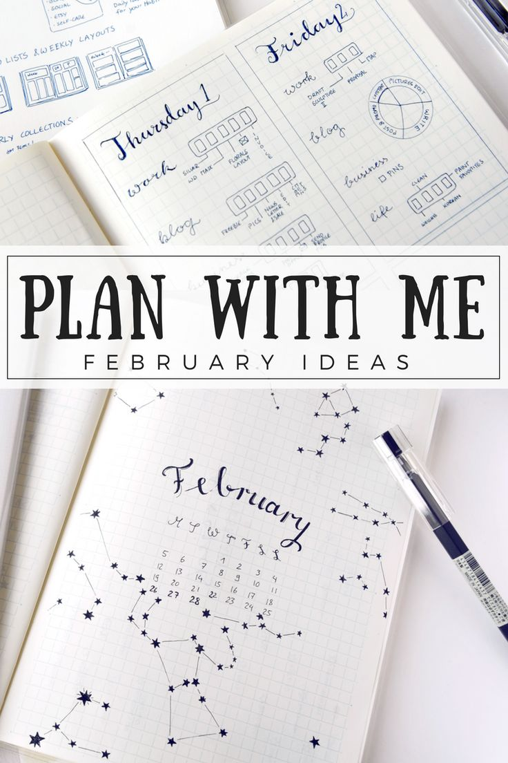 A simple PLAN WITH ME bullet journal setup for February!  If you're a bujo & planner beginner, the individual layout ideas can be used on their own in any notebook or diary you have on hand! Play around with unique and creative layouts until you find what works for your life and work schedule.  #bulletjournal #bulletjournaling #printable #planner #bujoinspire