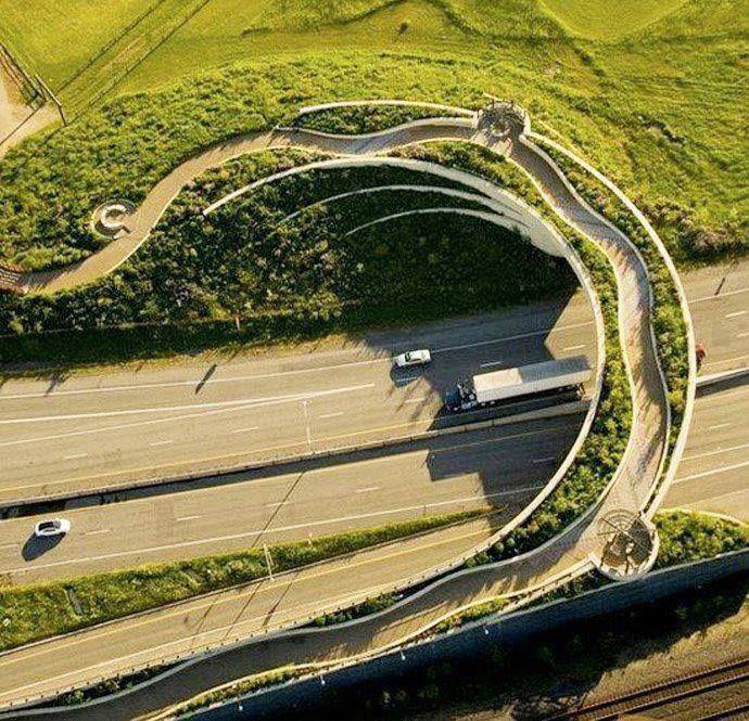 people bridge over freeway. Fort Vancouver, Washington.  Ex-urb bandaid.