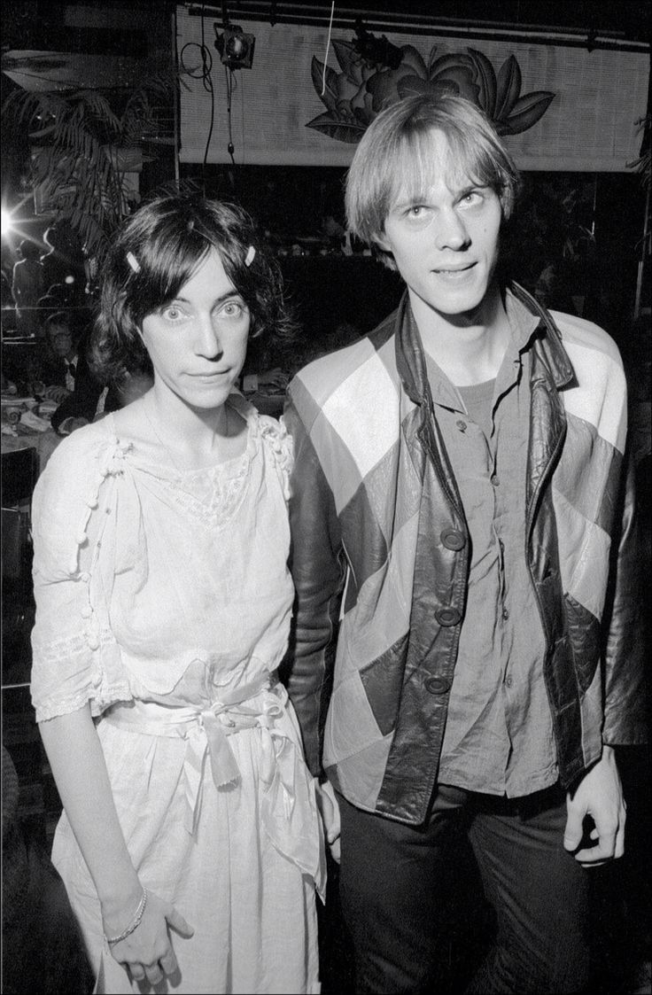 Patti Smith and Tom Verlaine at a birthday party for Frank Zappa in 1974.