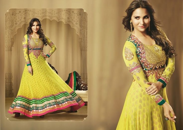 Yellow Georgette Anarkali With Heavy Embroidery, Resham & Stone Work  INR 6395/-