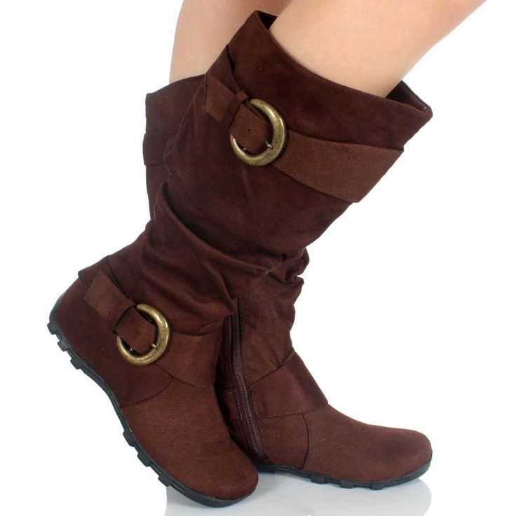 flat knee high boots brown slouch buckle faux suede