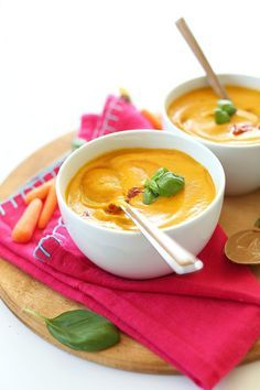 Creamy Carrot Soup with Peanut Butter and Basil | Thai-inspired, so creamy and delicious, perfectly spicy-sweet #vegan #glutenfree #minimalistbaker
