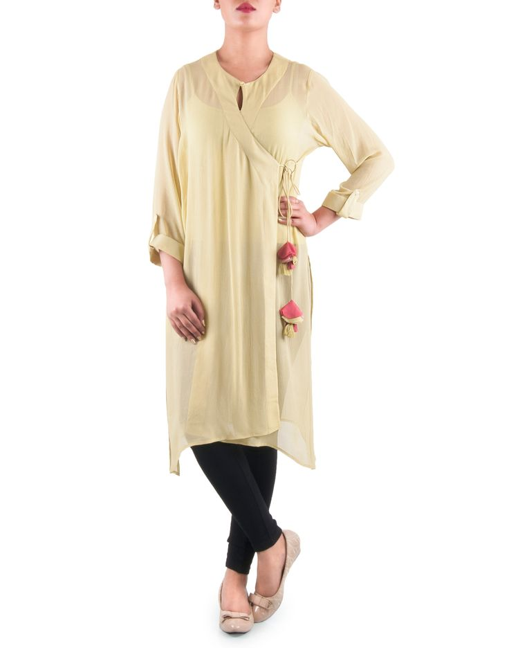 Angrakha Kurta in Lime. Available only @ saiesta.com