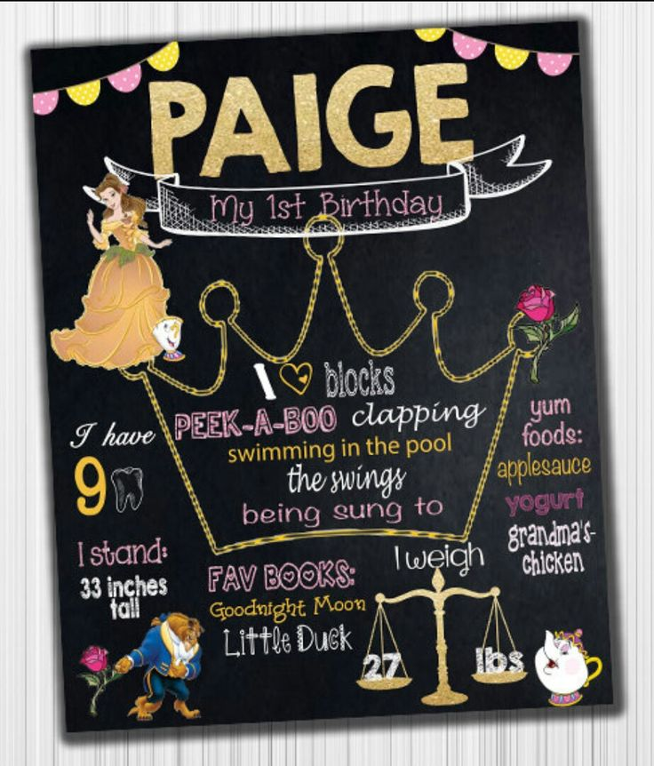 Beauty And The Beast Birthday Chalk Board