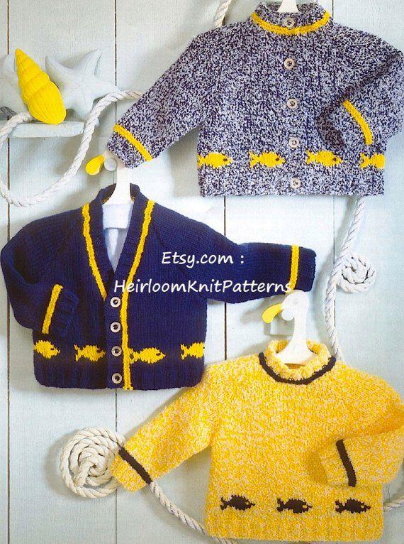 Bebé Cardigans y suéter Patrón de tejido de punto Niño Niña Motivo de pescado Cardigan Jumper Pullover Patrón 16-26 '' Descarga instantánea PDF - 570
