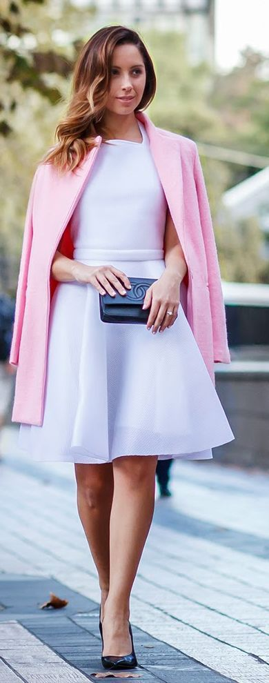White Dress, Pink Coat Outfit Idea by Friend In Fashion @Apple4EggHobby.