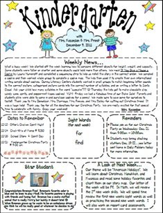 sample welcome to kindergarten letters | here is a newsletter template that i created to use each week to share ...
