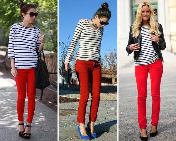 como llevar pantalones de cuero negro con blusa roja - Buscar con Google