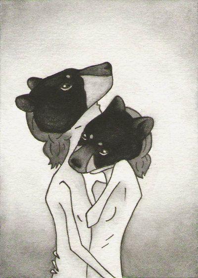 Black Bear  ACEO  Miniature Artwork by CuriousLemon on Etsy, $15.00