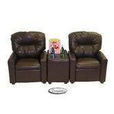 Found it at Wayfair - Theater Seating Leather Kids' Recliner Chair in Pecan Brown