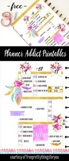 Free Planner Addict Printable Stickers- Roses and Feathers - Free Pretty Things For You
