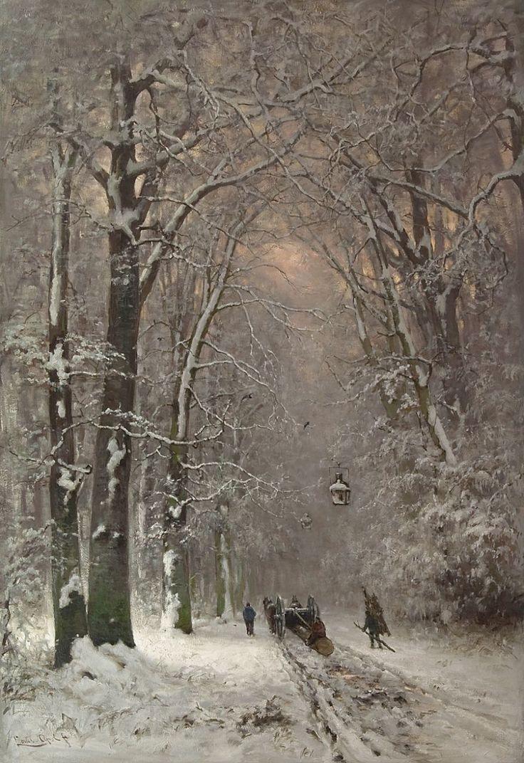 Apol L.F.H. | Lodewijk Franciscus Hendrik 'Louis' Apol, Houthakkers met mallejan in het Haagse bos, olieverf op doek 112,5 x 77,5 cm, gesigneerd l.o.