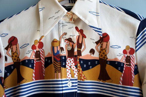 DECO BEACH 1970's Art Deco Revival Beach Theme Sceneic Print Shirt with Brenton Stripes