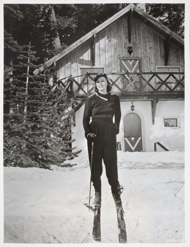 A vintage black and white publicity photograph of greta garbo from two faced woman mgm the image shows garbo on a pair of skis